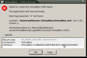 Masalah : VirtualBox - Critical Error