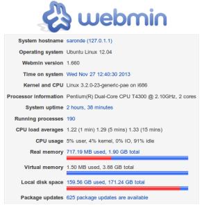 Webmin - Menampilkan informasi tentang statistik sistem server